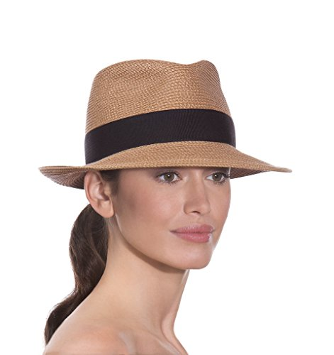 Eric Javits Luxury Designer Women's Headwear Hat - Squishee Classic - Natural/Black by Eric Javits