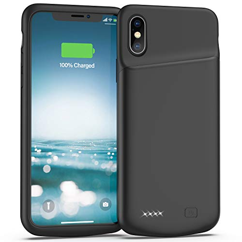 Battery Case for iPhone X/XS, 4000mAh Slim Protective Charger Case, Portable Extended Charging Case Rechargeable Phone Backup Compatible with iPhone X/XS, Supports Headphone (Black)