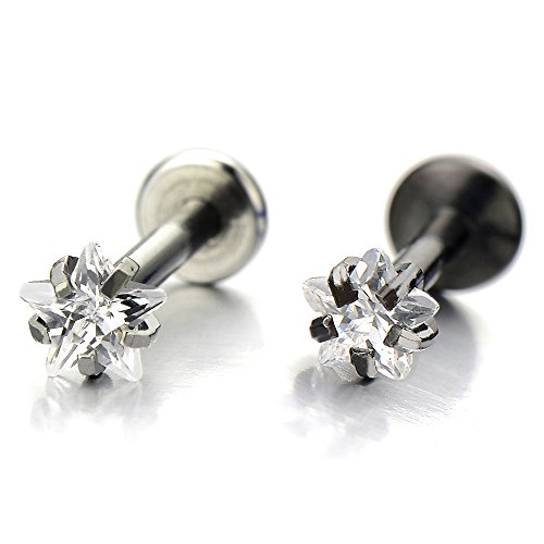 Lip Chin Labret Ring (Steel Lip Stud Ring with Star Cubic Zirconia Piercing Labret Monroe Bar Chin Tragus Body Jewelry(3mmSilver))