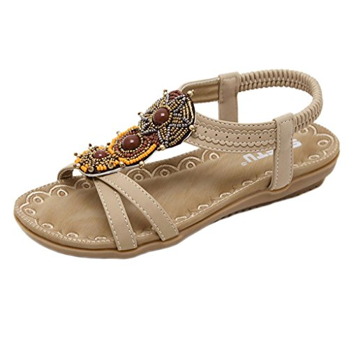 OverDose Damen Flache Bohemia Sandalen Frauen Bohe Mode Flache Schuhe Große Größe Casual Sandalen Super Qualität Strand Schuhe Braun