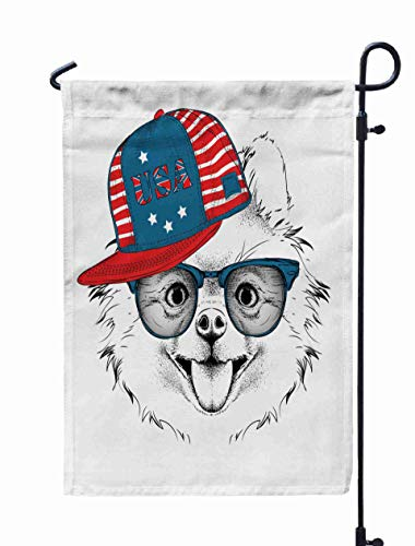 HerysTa Garden Flag Stand, Decorative Yard Farmhouse Holiday Banner 12 x 18 inches in The Glasses Headphones Hat Print USA Hiphop Double-Sided Seasonal Garden Flags