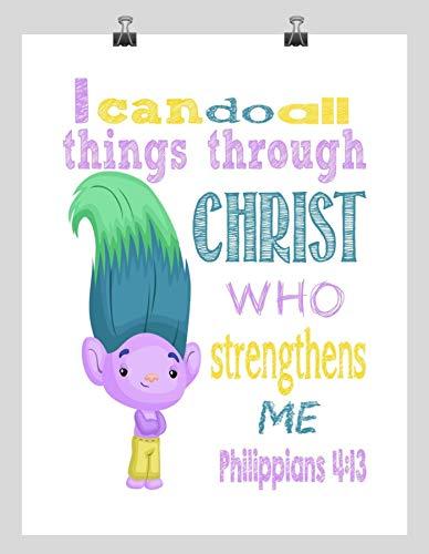 Creek Trolls Inspirational Nursery art print - I Can Do All Things Through Christ Who Strengthens Me - Philippians 4:13