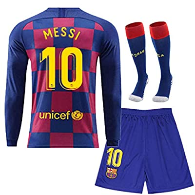 GOOGJS 2019-2020 Season Barcelona #10 Messi Jersey Home Kids Youth Soccer Jersey Shorts Long Sleeve Red/Blue (S-XL)