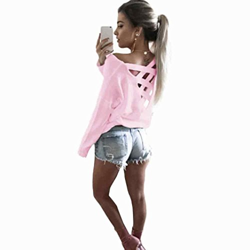 Big Promotion! Women Blouse Daoroka Ladies Long Sleeve Back Criss Cross Casual Loose Solid Tops Autumn Fashion Cute Soft Comfort Pullover T Shirts -