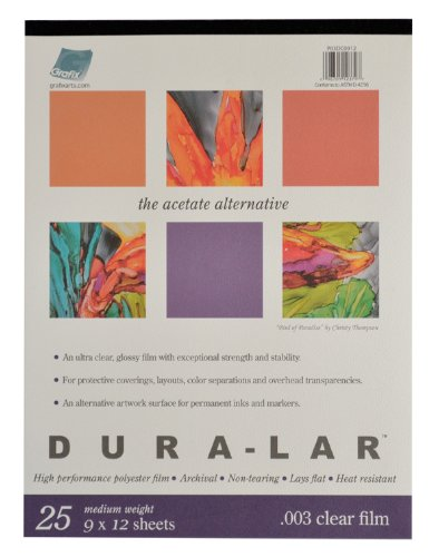 9-Inch by 12-Inch 25 Sheets Grafix Clear .003 Dura-Lar Film