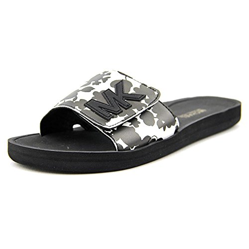 MICHAEL Michael Kors Women's MK Slide Black/Optic White 1 Sandal