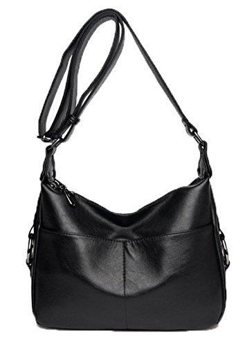 VogueZone009 Femme Mode Décontractée Zippers Pu Cuir Des sacs Sacs à bandoulière,CCAFBP180965 Noir