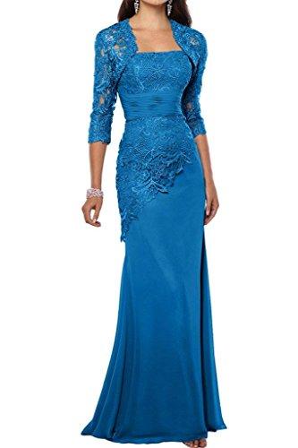 Brautmutterkleider Abendkleider Schmaler Satin Partykleider Charmant Lang Blau Promkleider Schnitt Elegant Blau Damen A4qf0