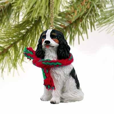 1 X Cavalier King Charles Spaniel Miniature Dog Ornament - Tri (Miniature Cavalier King Charles Spaniel)