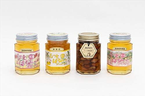 【国産純粋ハチミツ・養蜂園直送】れんげ蜂蜜 山ざくら蜂蜜 柚子蜂蜜漬 各180g ナッツ蜂蜜漬 160g