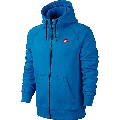 Sudadera con capucha Nike AW77 con capucha FLC FZ-Logo 26 azul / rojo 620988-463 (talla L)
