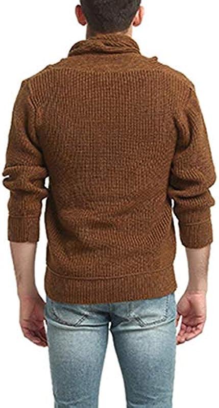 HaiDean męski sweter z dzianiny wiosna jesień sweter z dzianiny luźny Modernas luźny normalny lakier z długim rękawem szal kołnierz dzianina sweter - l: Odzież
