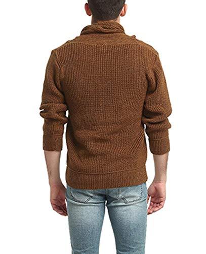 Suéter Simple Primavera Elegante Punto Hombres De Larga Sólido Kamel Color Manga Estilo Alto Cuello Los YIYFx