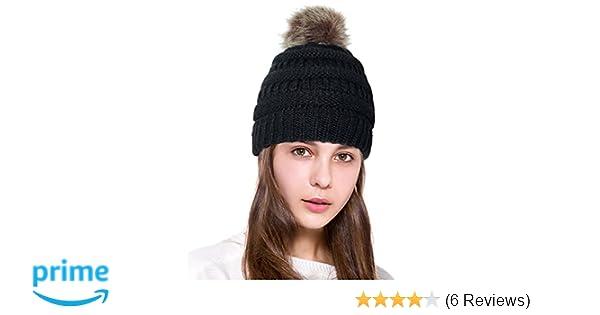 0ad2415ab58 Lamdgbway Pom Pom Beanie Hat Chunky Winter Knit Hat Stretch Faux Fur Skull  Cap Black at Amazon Women s Clothing store