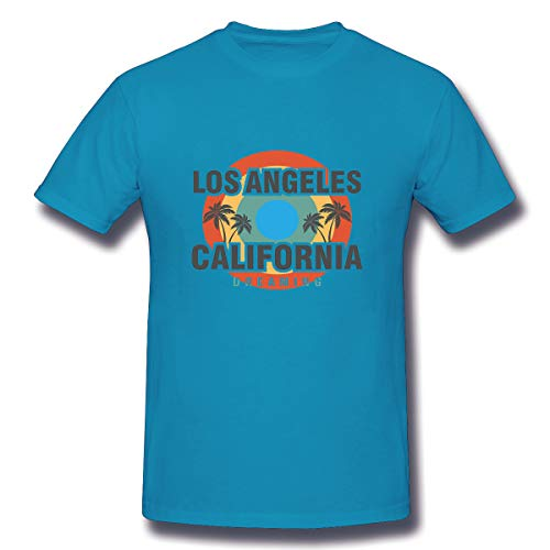 YILINGER Men's Lightweight Crewneck T-Shirt Los Angeles Palm Beach Typography Stamp cali]()