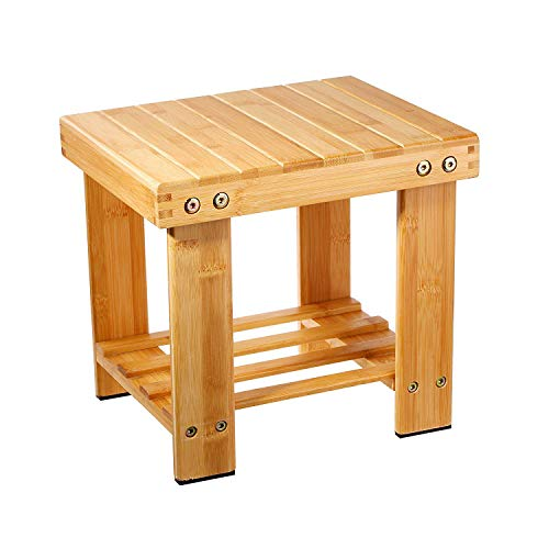 Step Stool,Bamboo Lightweight Foot Stool Chair Anti-Slip Bath Shower Bench Stool with Storage Shelf for Kids Patio Garden Bedroom Living Room Fishing Camping(Wood Color)