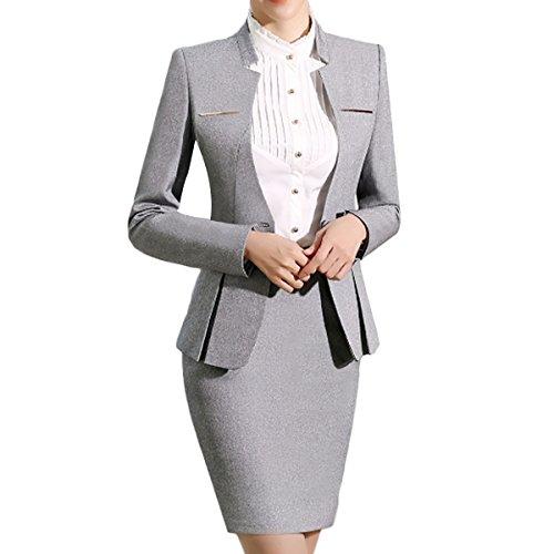 Yunclos Women S 2 Piece Business Dress Skirt Suit Set Office Lady