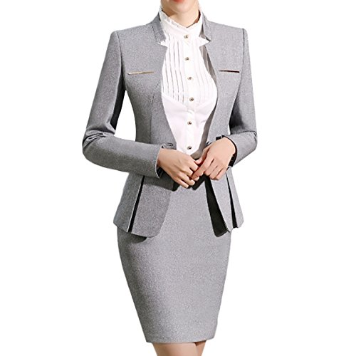 Women's 2 Piece Business Dress Skirt Suit Set Office Lady Slim Fit Blazer and Skirt (Blazer and Skirt-Light Grey, M) (Ladies Skirt Sets)