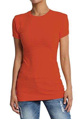 TheMogan Women's High Crew Neck Short Sleeve T-Shirts Cotton Tee Copper (Stretch Tee T-shirt)