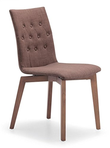 Tufted Dining Chair in Brown with Natural Wood Legs (Set of ()