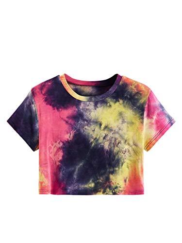 SweatyRocks Women's Short Sleeve Tie Dye Crop T-Shirt Casual Tee Tops Pink Navy Large