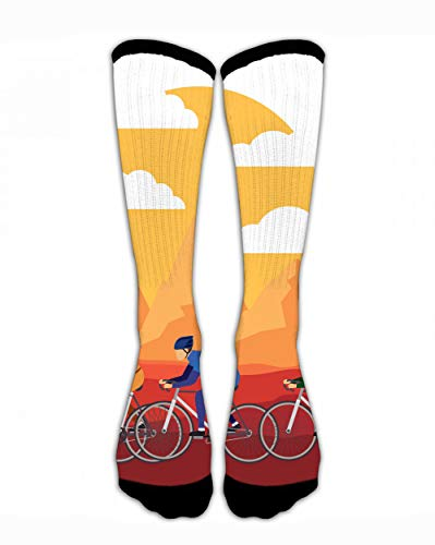 SARA NELL Cycling Race with Beautiful Landscape Classic Personalized Socks Sport Athletic Stockings 44Cm Long Sock for Men -