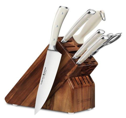 Wusthof Classic Ikon Creme 7-piece Acacia Knife Block Set For Sale