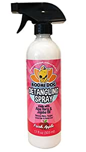 New All Natural Apple Detangling Spray | Remove Tangles While Dematting Dog and Cat Fur and Hair | Soothing Lotion with Conditioning Qualities - Made in USA - 1 Bottle 17oz (503ml)