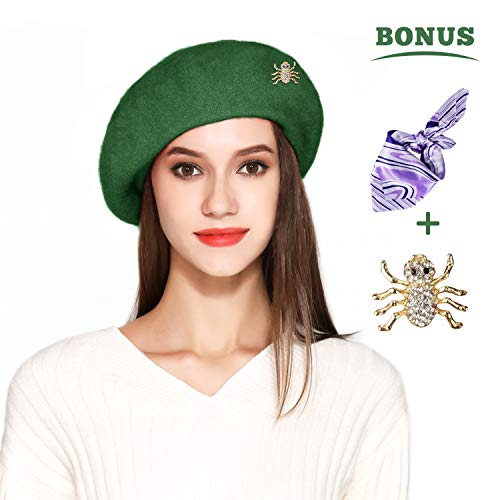 (Jeicy Wool Beret Hat Solid Color French Artist Beret with Skily Scarf and Brooch (Deep Green))