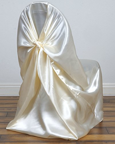 Tie Chair Cover Self - MDS Pack of 40 satin Universal Chair Cover / Pillowcase / tie back self chair cover for Wedding or Events Banquet / Folding Chair cover - ivory