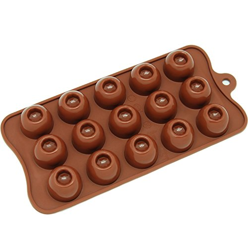 Generic CB-611BR 15-Cavity Silicone Dimpled Round Chocolate