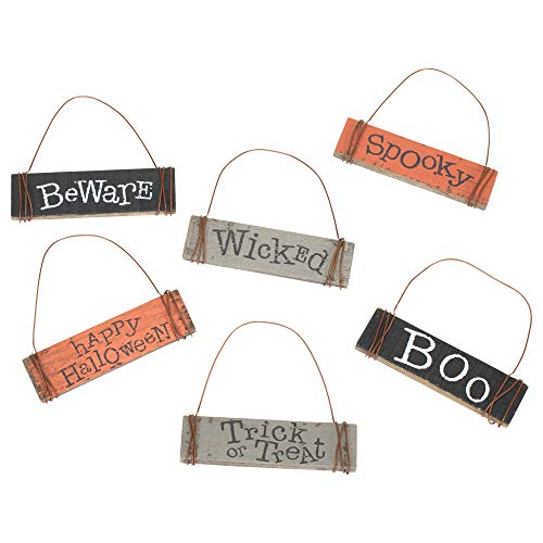 Honey In Me Spooky Medley 3.5 x 3.5 Pallet Wood Rectangle Halloween Hanging Signs Set of -