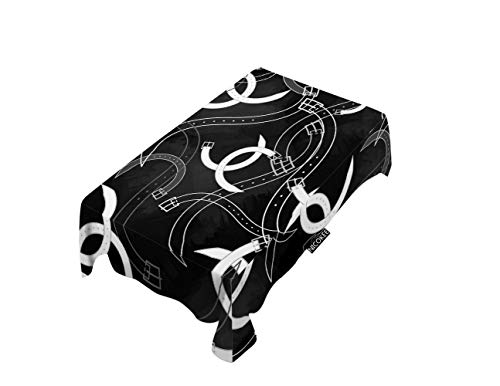 NICOKEE Polyester Decorative Tablecloth Abstract Art Belt Rectangle Table Cloth Antique Buckle Simple Vintage Black White Table Cover for Kitchen Dinning Party End Table Protection (Abstract Belt Buckle)