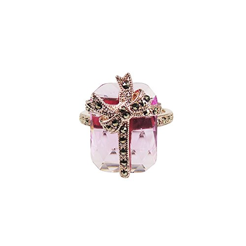 - Aura 925 Sterling Silver Ring Pink Syn Corundum, Marcasite With Rose Gold Plated #7