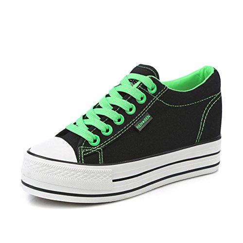 Aumentado en las mujeres de zapatillas de color caramelo/Zapatos del estudiante sólido suela gruesa plataforma/Zapatos de cordones de mujer A