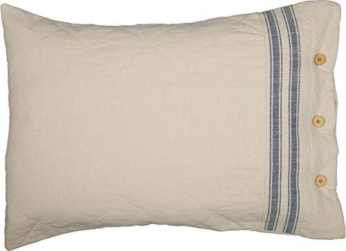 Piper Classics Market Place Blue Ticking Stripe Standard Size Pillow Sham, 21