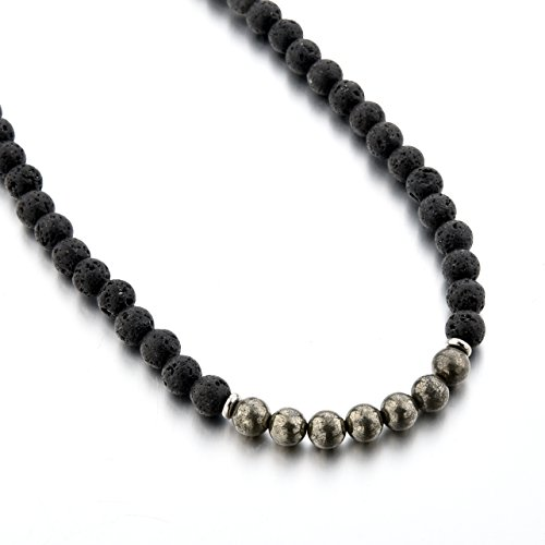 Mystiqs Deluxe Edition Lava Rock & Pyrite Beaded Necklace Essential Oil Diffuser for Men Aromatherapy Ideal for Anti-Stress or ()