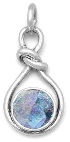 (Sterling Silver Knot Design Pendant, 8mm Ancient Roman Glass, 1 inch )