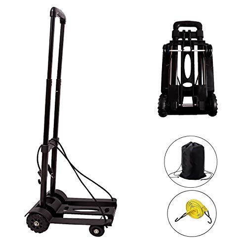 Folding Hand Truck, KINJOEK 40kg/88lbs Solid Construction Utility Cart for Luggage with Oversized Wheels & Bonus Bungee Cord, Collapsible, Lightweight and Compact Luggage Dolly Cart for Travel (Black)