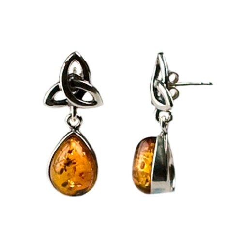 Honey Amber Sterling Silver Celtic Earrings