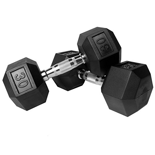 XMark Premium Quality Rubber Coated Hex Dumbbells with Chrome Contoured Handles - 30 lb pair