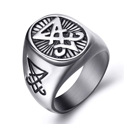 (Elfasio Stainless Steel Rings for Men Sigil of Lucifer Seal of Satan Symbol Jewelry Size 11)