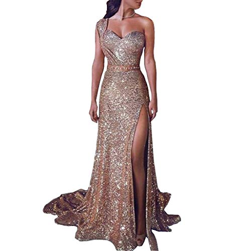 RSEO Women's Cocktail Party Dress One Shoulder Asymmetrical Sweetheart Sheath Gilded High Split Evening Dress Sparkling Gold