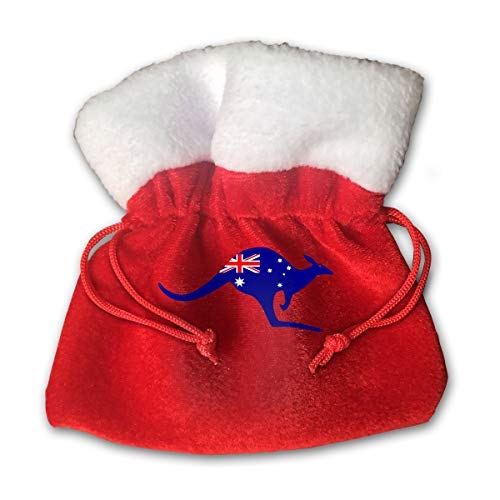 CYINO Personalized Santa Sack,Kangaroo with an Australia Flag in Portable Christmas Drawstring Gift Bag (Red) -