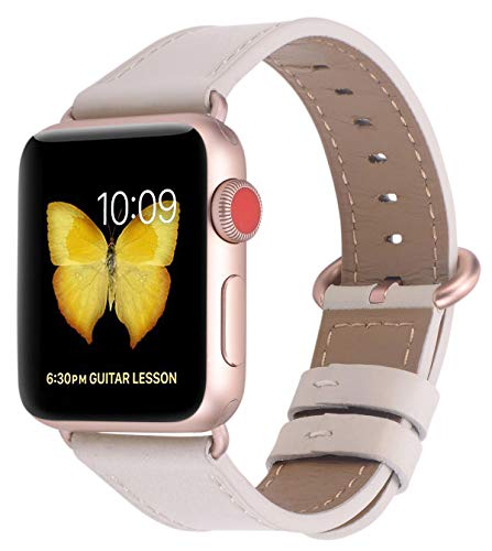 Rose Womens Leather - PEAK ZHANG Compatible with Apple Watch Band 42mm/44mm Women Leather Replacement Strap with Series 4/3 Rose Gold Clasp for iWatch Series 4,3,2,1(Ivory White,42mm 44mm Small)