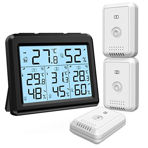 🥇 ORIA Termómetro Higrómetro Digital con 3 Sensor Remotos