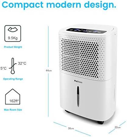 Pro Breeze Déshumidificateur Portable 12 L | Compresseur d'air | 4 Modes | Affichage numérique | Évacuation Continue | Fonction sèche-Linge | Minuterie