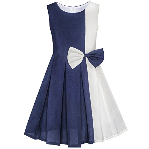 Sunny Fashion Girls Dress Color Block Contrast Bow Tie Everyday Party Size 12, Dark Blue