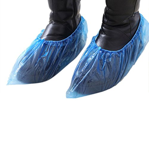 (DZT1968 100pcs Outdoor Disposable Plastic Shoe Covers Carpet Cleaning Overshoes (Blue))