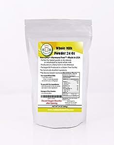 Whole Milk Powder (24 Oz/1.5lb/680 grams): Non-GMO, Hormone-Free and Produced in USA